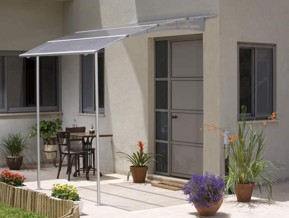 Somerset Door Canopies from DGA Frames. We supply and fit modern acrylic overhead door canopies and balcony systems. For a quote or general enquiries & Somerset Door Canopies